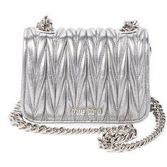 Miu Miu Women's Mini Matelass̩ Leather Crossbody - Silver