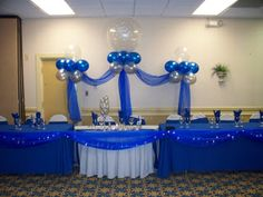 My diy royal blue and white wedding centerpieces wedding blue and silver wedding centerpieces custom balloon decor and fabric designs junglespirit Image collections