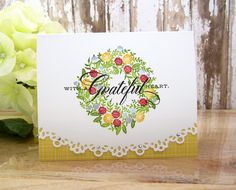Gratitude Wreath | Stamps: Birds and Blooms - PTI Die: Edger… | Flickr - Photo Sharing!