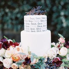 This cake literally says it all - love the hand lettering and the sea of flowers! See more of this jewel tone shoot in wine country on the blog today - link is in my profile! Photography by @trynhphoto | Floral Design by @vofloraldesign | Wedding Cake by @jenscakesofwillowglen | Coordination and Design by @cali_smittenkiss | Event Rentals from @encoreeventsrentals | Stationery Design by @sleepyhedgehogpress | Bride's Jewelry by @oneworlddesigns | Dresses by @nhakhanh | Groom's Attire from…