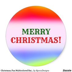 Fun Multicolored Rainbow-Like Pattern Classic Round Sticker created by AponxDesigns. Christmas Stickers, Christmas Fun, Round Stickers, Custom Stickers, Activities For Kids, Diy Projects, Rainbow, Ads, Make It Yourself