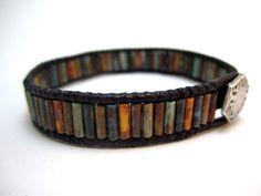 Beaded Leather wrap bracelet mini cuff style, rustic bohemian style, czech glass bugle beads