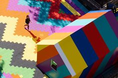 """Called Back in the Air: A Meditation on Higher Ground, the artwork stretches over the 1,400-square-metre roof terrace of Temple Station in central London. The painting is meant to act as """"a beacon of London's recovery"""" as the city comes out of the coronavirus pandemic."""