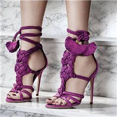 Shoespie Elegant Lace-up With Tassels Sandals