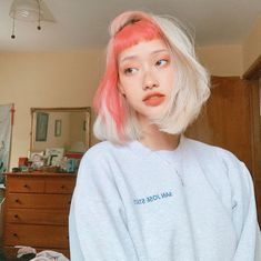 We can't get over this rad color split done by Get a similar look with Electric Paradise +Porange for a portion of your hair and… Medium Hair Styles, Short Hair Styles, Model Tips, Dye My Hair, Half Dyed Hair, Split Dyed Hair, Aesthetic Hair, Aesthetic Drawing, Brown Aesthetic