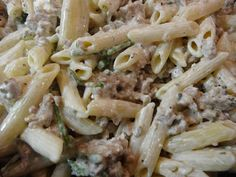 Once-a-Month Chef - Freshly cooked Penne Pasta with Italian Sausage and Asparagus Tips