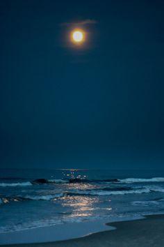 Moonlight on the beach Beautiful Moon, Beautiful Beaches, Beautiful World, Home Beach, Ciel Nocturne, Am Meer, Blue Moon, Stars And Moon, Night Skies