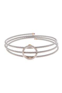 18K Yellow Gold & Stainless Steel Diamond Pave Halo Bracelet - 0.11 ctw