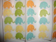 FREE SHIPPING 40 orange, blue, green and yellow elephant stickers-- envelope seals-- customize colors-- unisex baby shower. $6.00, via Etsy.