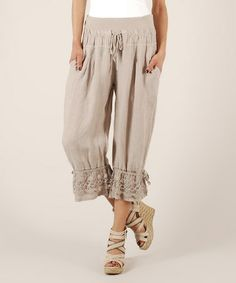 Beige Tie-Waist  Hem Linen Capri Pants. I'm thinking that my secondary 1 is calling for interesting clothing like this, in quieter colours like this because of my primary 2.