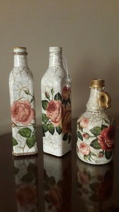 How to paint a wine bottle on canvas inspirational decoupage bottles Wine Bottle Art, Painted Wine Bottles, Diy Bottle, Wine Bottle Crafts, Jar Crafts, Glass Bottles, Decorated Bottles, Plastic Bottle, Shell Crafts