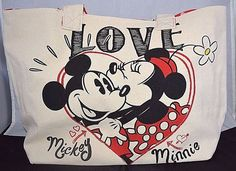 NWT Disney Store Mickey & Minnie Mouse Beach Canvas Tote Bag #Disney #ToteBag