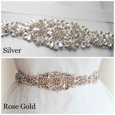 Gold Crystal Skinny Sash Silver & Rose Gold by TheRedMagnolia