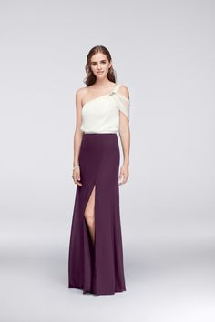 Color block ivory and purple Draped Chiffon One-Shoulder Bridesmaid Dress with Beading by Wonder by Jenny Packham available at David's Bridal