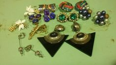vintage earring lot rhinestone