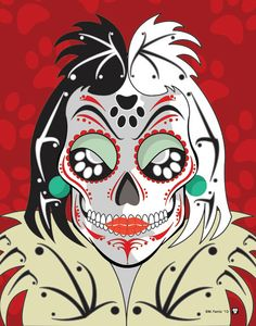 Cruela Sugar Skull Print 11x14 print by Nutcracks on Etsy. Disney Villain Series.