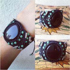 Macrame bracelet with mexican obsidian stone,unique piece