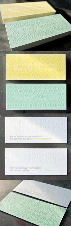 Subtle Textured Pastel Letterpress Business Card For A Photographer
