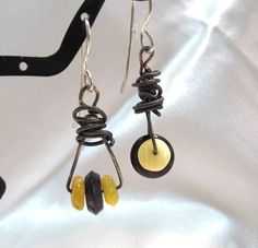 Amber dangle earrings  handmade  one of kind. by dhicksdesigns