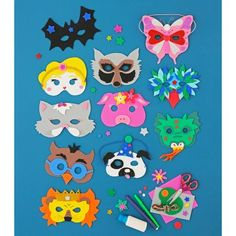 animal masks from foam Mardi Gras, Diy Crafts For Kids, Fun Crafts, Theme Carnaval, Animal Masks, Quilling Patterns, Baby Kind, Clowns, Diy Costumes