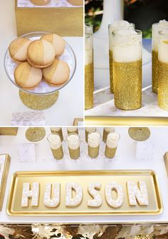 A Safari First Birthday Party with white & gold color scheme, DIY painted animals, gold glitter desserts, pin the tail on the giraffe, animal prints + Golden Birthday Parties, Glitter Birthday Parties, Safari Birthday Party, Baby First Birthday, Jungle Party, Birthday Ideas, Baby Bash, Baby Party, Gold Party