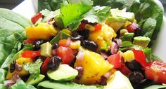 Avocado Mango Black Bean Salad. As with the Vegan Taco Salads, be aware of how much corn you use and make sure there is enough protein to balance it out.