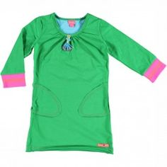 Groene jurk met 3/4 mouw - Kidz-art