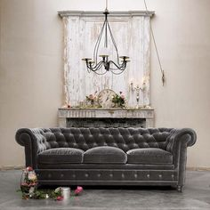 Home Interior Greige Color Ideas : Grey Velvet Sofa Chesterfield Ideas Tufted Couch, Chesterfield Couch, Upholstered Sofa, Handmade Home, Grey Couches, Gray Sofa, Neutral Couch, Yellow Sofa, Grey Sectional