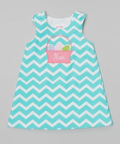 Look at this Lollypop Kids Clothing Aqua Chevron Personalized Jumper - Infant on #zulily today!