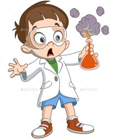 Kid Makes Science Experiment by yayayoyo Scientist kid holding an exploding test tube Science Classroom Decorations, School Decorations, Kid Science, Scientist Cartoon, Chemistry Art, Science Experiments Kids, Cartoon Kids, Drawing People, Cartoon Drawings