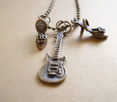 Put on your Dancing Shoes NECKLACE Guitar and Dancing Shoes Pendent - Ball Chain by banglesbaubles