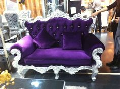 Purple Velvet | Large Ornate Purple Velvet Fabric Sofa With Crystal Studs For Sale
