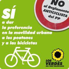 Sí a dar preferecia en la movilidad urbana a los peatones y a las bicicletas. No al Reglamento ANTICICLISTA del PP http://elsverdsdegandia.net