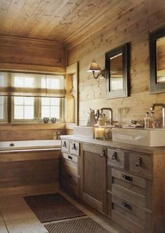 20 Rustic Bathroom Designs 11 - Diy Crafts You & Home Design Cabin Bathrooms, Rustic Bathrooms, Cabin Homes, Log Homes, Sweet Home, Rustic Bathroom Designs, Bathroom Inspiration, Bathroom Ideas, Bath Ideas
