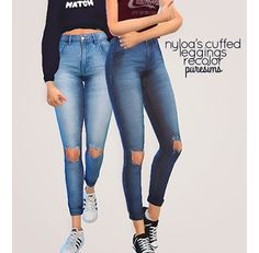 "puresims: "" cuffed jeans - recolor of nyloa's cuffed leggings are these jeggings or just really tight skinny jeans? the world will never know.…"