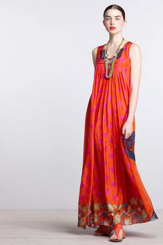 A maxi dress always looks effortlessly chic in the summer.    #Anthropologie #SanteeMaxiDress
