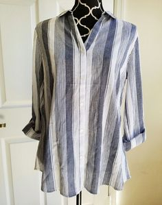 NWT Limited Striped Shirt Women's Large Stripes Button Up 3/4 Sleeves Retail $60 #TheLimited #ButtonDownShirt