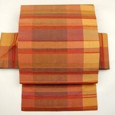Brown, silk nagoya obi / 変わり格子を織り上げた都会的な洒落感の名古屋帯 http://www.rakuten.co.jp/aiyama…