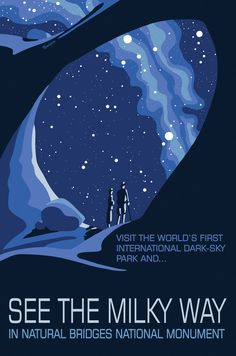 """beautiful new posters about National Parks """"after dark"""" and how to experience astronomy with them. Nod to WPA Nat. Park Service Posters- Artist and astronomer Dr. Tyler Nordgren. If only his typography was just a bit better, these would be fabulous."""