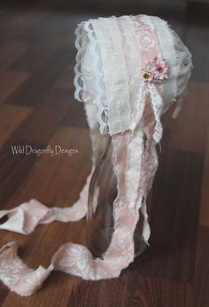 Shabby chic newborn bonnet by WildDragonflyDesigns on Etsy, $26.00