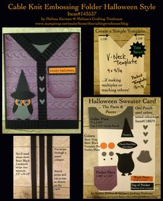DIY, handmade, halloween, sweater card tutorial, using the Cable Knit embossing folder, owl punch and Teeny Tiny Wishes Stamp Set. Project by Melissa Kerman, Stampin' Up Demonstrator.