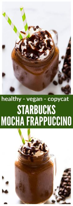 This easy, healthy homemade Starbucks Mocha Frappuccino recipe is low calorie, vegan, and so delicious! Even better than the original and perfect for coffee frappuccino lovers. Recipe at wellplated.com | @wellplated