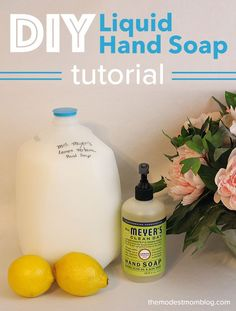 DIY: Make your own liquid Mrs. Meyer's hand soap recipe tutorial! Save Money with this idea!