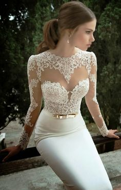 Gorgeous floral lace detail wedding dress. if only I was getting married!!! find more women fashion ideas on http://www.misspool.com