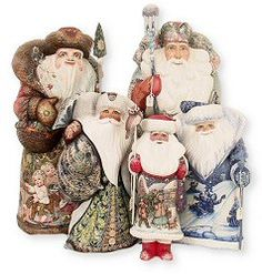 Russian Santas - hand carved & painted