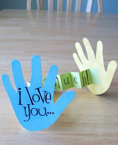 """Father's Day ideas continued...   I decided to show you the things Harvey and I made to give to Justin. First up...   """"I Love You This Much..."""