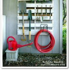 RED watering can RED garden hose