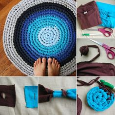 Repurpose Old T-Shirts into This Amazing Crochet Rug - http://www.amazinginteriordesign.com/repurpose-old-t-shirts-amazing-crochet-rug/