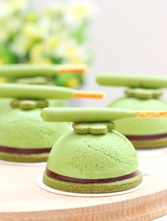Matcha mousse tarts deliciously-made with green tea cookie crust base homemade strawberry jelly center and matcha mousse. Tea Cakes, Mini Cakes, Tart Recipes, Dessert Recipes, Green Tea Cookies, Tart Filling, Strawberry Jelly, Sweet Pie, Baking And Pastry