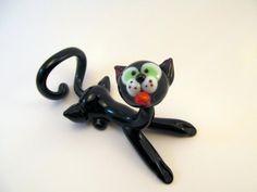 Blown Glass Cat Miniature, Sculpture, Figurine